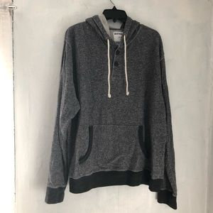 Gray button front hoodie